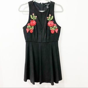 F21 | Faux Suede Floral Embroidered Dress Eyelets